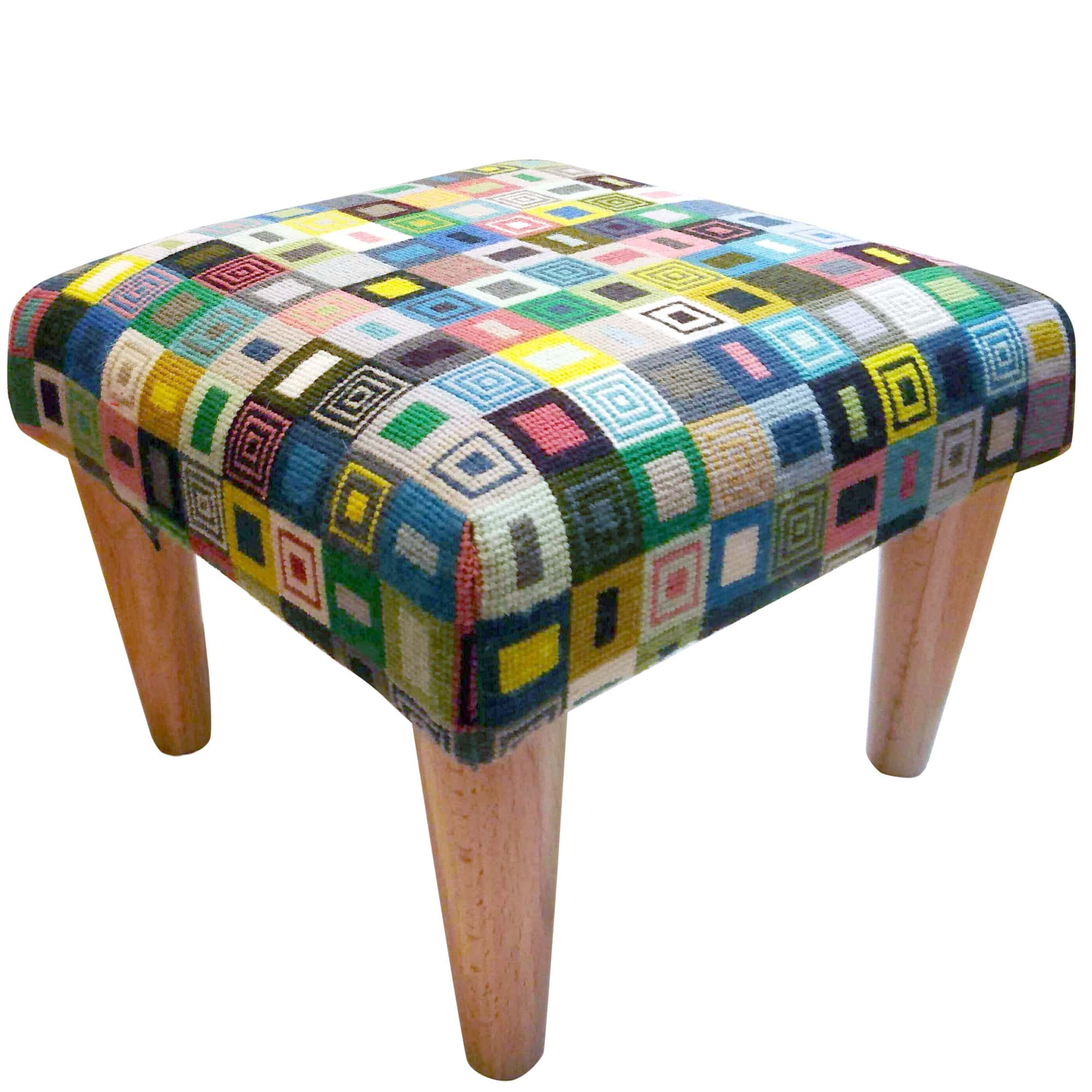 Geometric Footstool Green and Black