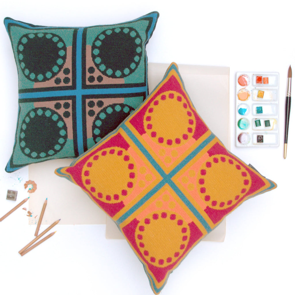 Cressida Bell Granadilla Needlepoint Cushion Blue and Green featured George Clarke Old House New Home