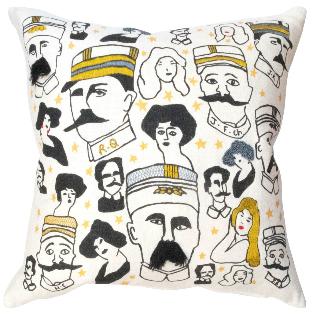 Moustaches Embroidered Cushion