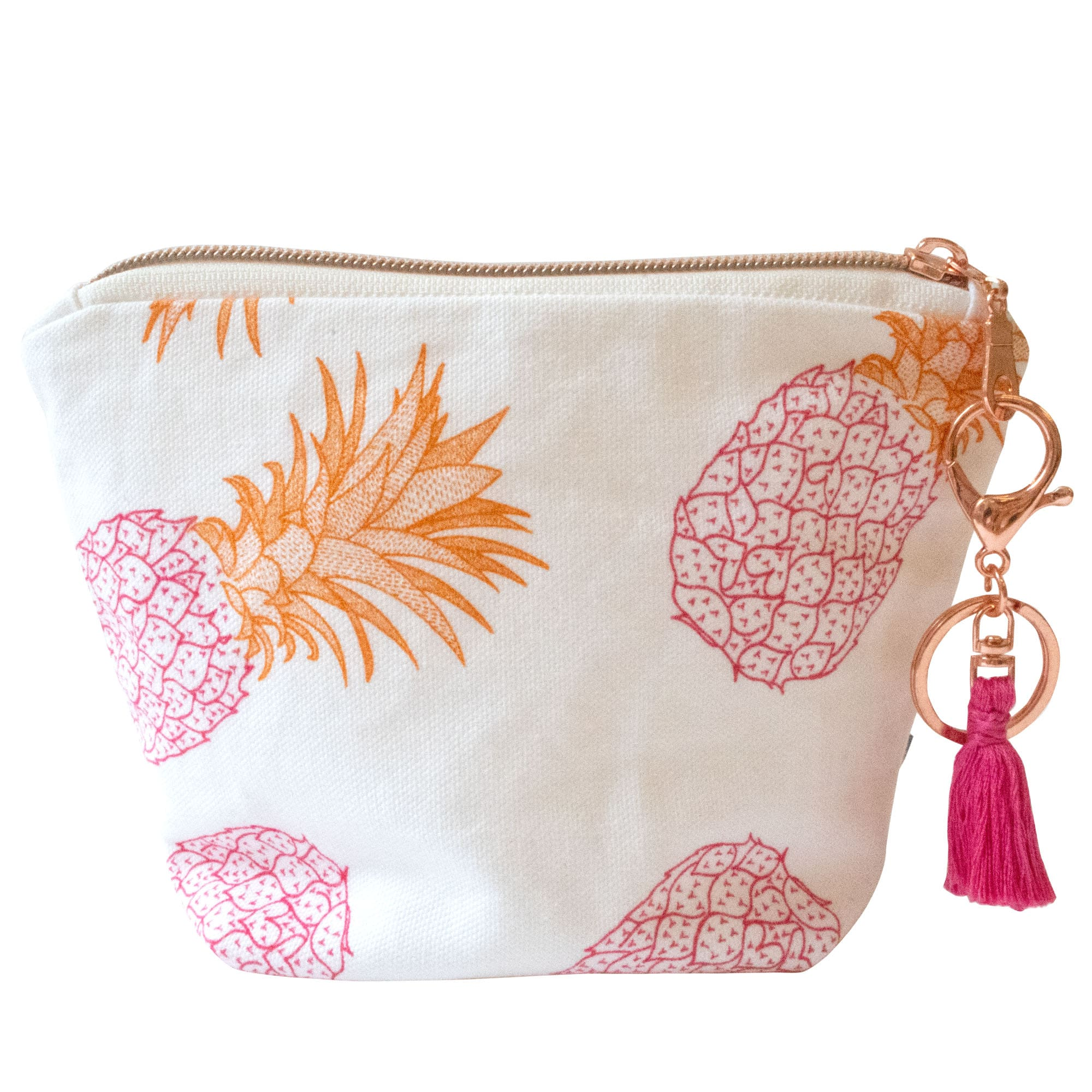 Pineapple Tassel Pouch Pink and Orange