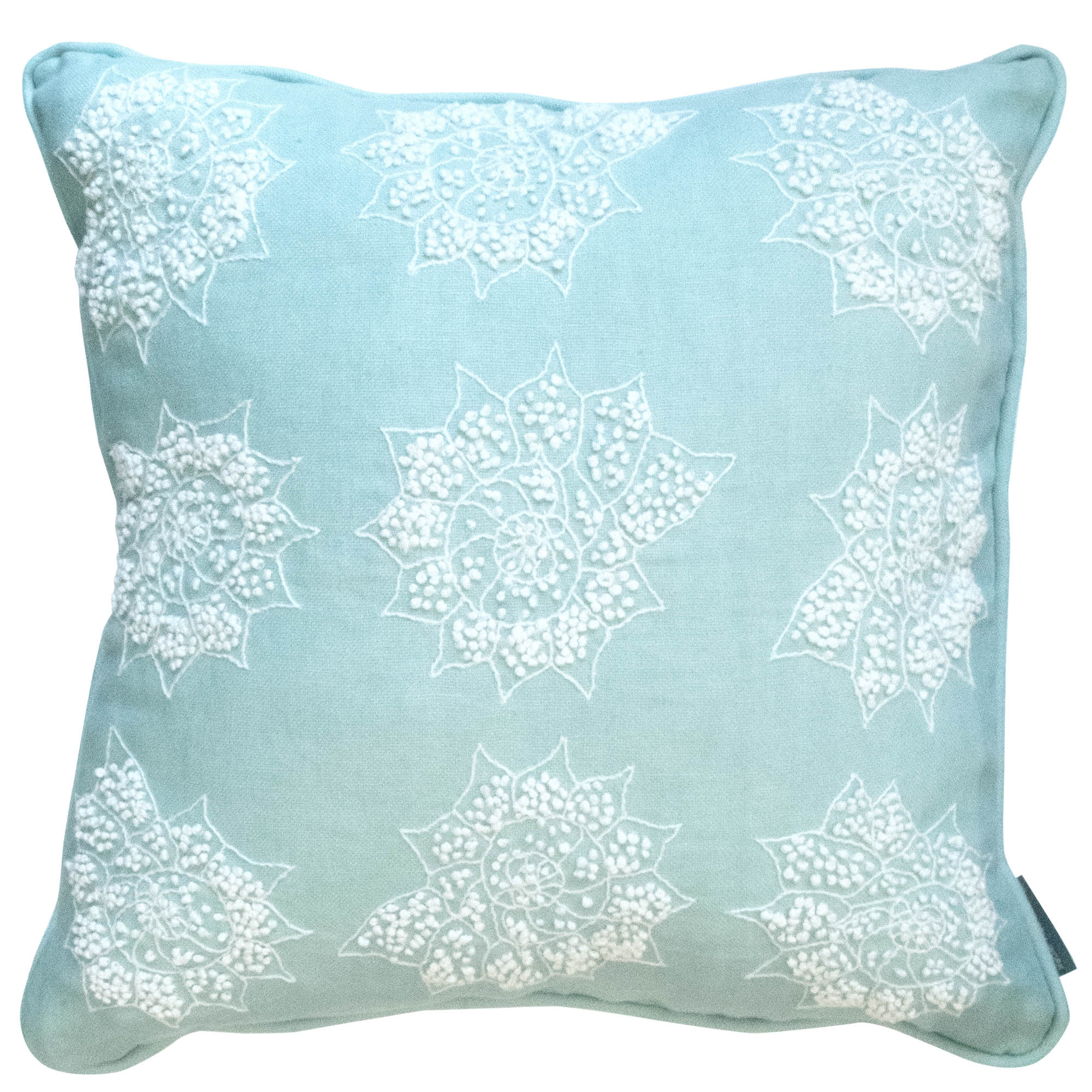 Melissa Wyndham Shell Stars Embroided Cushion Aqua