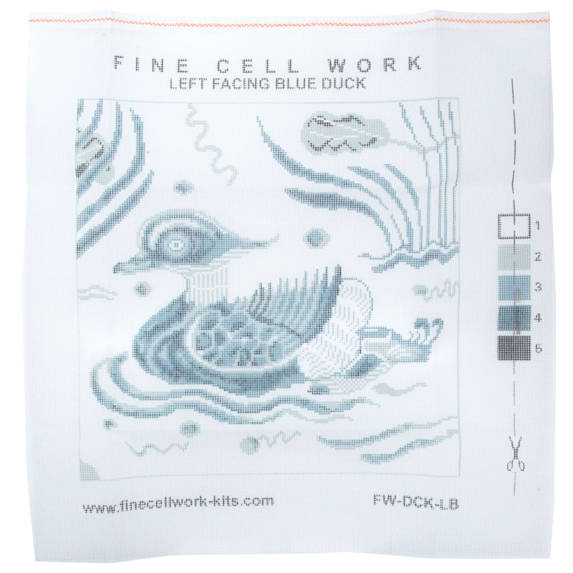 Fine Cell Work Blue Duck Wool Needlepoint Tapestry Cushion Kit Left Facing Printed Canvas