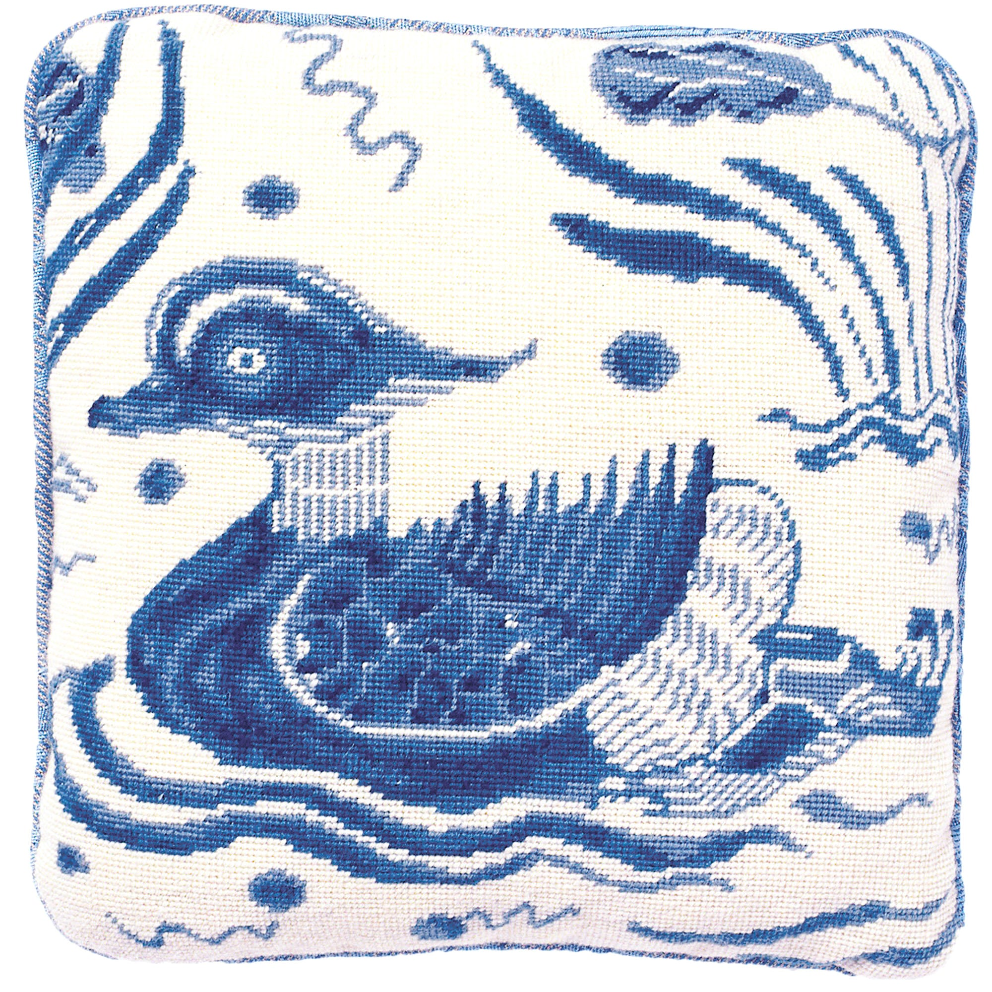 Fine Cell Work Blue Duck Wool Needlepoint Tapestry Cushion Kit Left Facing