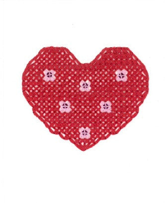 Heart Love Valentines Card Cross Stitch Handmade Red Pink Bead Fine Cell Work