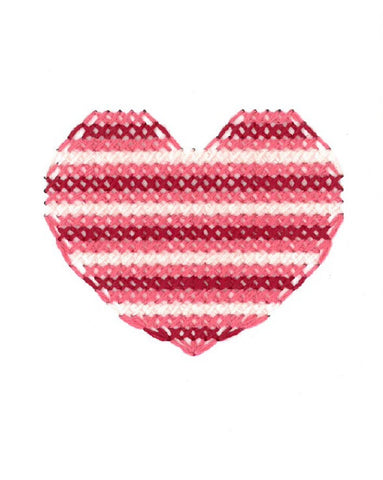 Heart Love Valentines Card Cross Stitch Handmade Red Pink Stripe Fine Cell Work