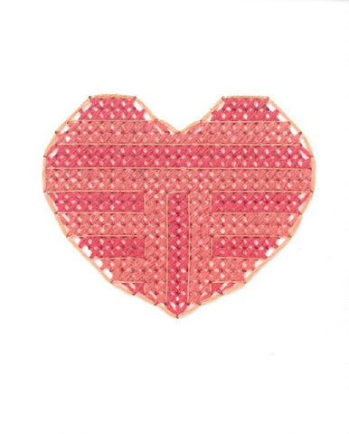 Heart Love Valentines Card Cross Stitch Handmade Red Pink Stripe Mix Fine Cell Work