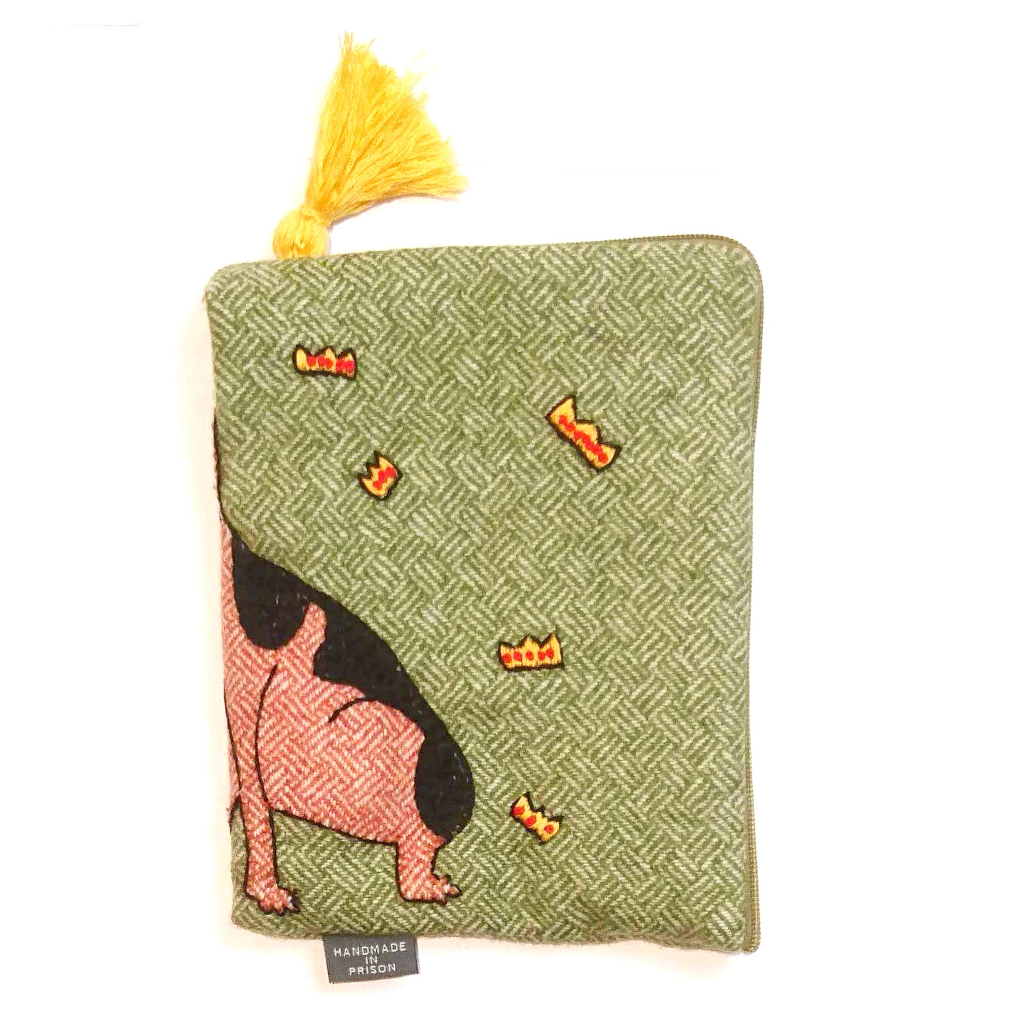 Penny the Dog Appliqué Tweed Pouch Small