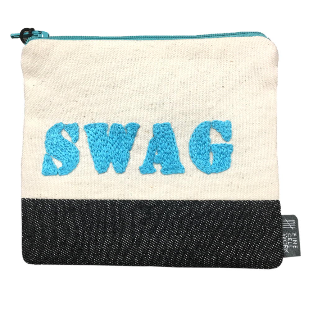 Swag Hand Embroidered Purse Turquoise Fine Cell Work