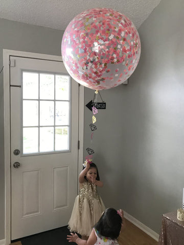 girl party ideas, first birthday, second birthday, third birthday, large balloon for party