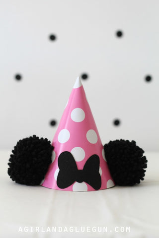 Minnie Mouse Birthday Hat Party Ideas Pink with black pom pom