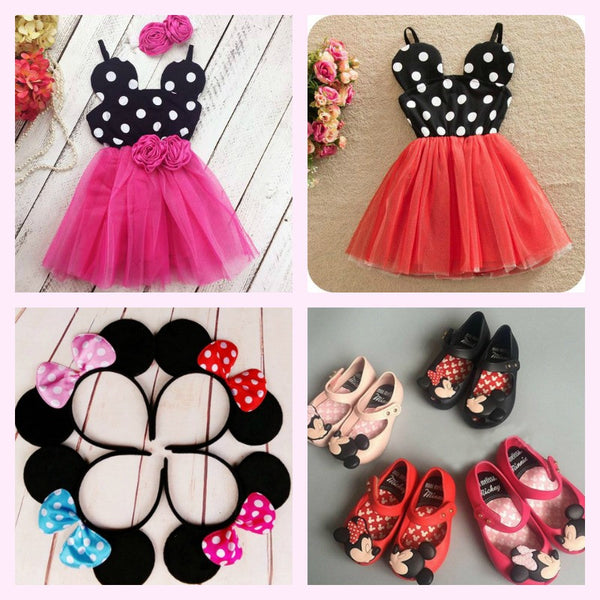Minnie Mouse Red Birthday Party Dress, Red Minnie Mouse Shoes, minnie mouse ear headband