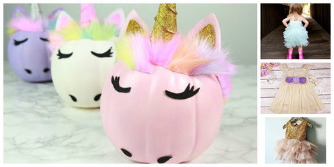 unicorn pumpkin ideas and unicorn birthday dresses for toddler girls
