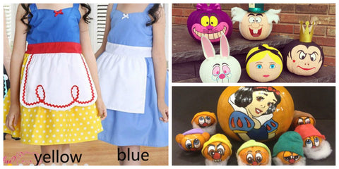 Alice in Wonderland and Snow White Pumpkins and Disney Princess Dress Ideas for Toddlers and Girls
