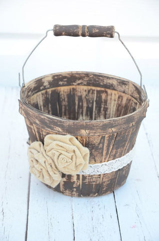 flower girl basket ideas, country chic flower girl, wooden flower girl basket with flower