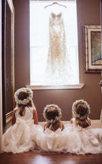 flower girl white wedding dresses and crown hair piece
