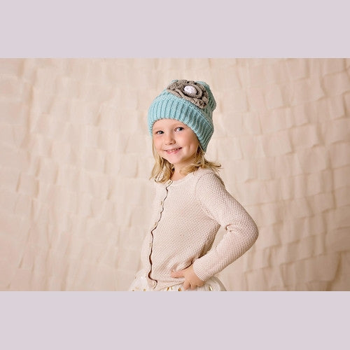 Teal Beanie with Grey Flowers