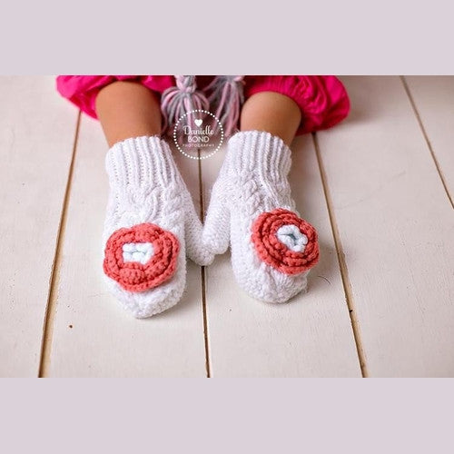 Cream Mittens with Coral Flower
