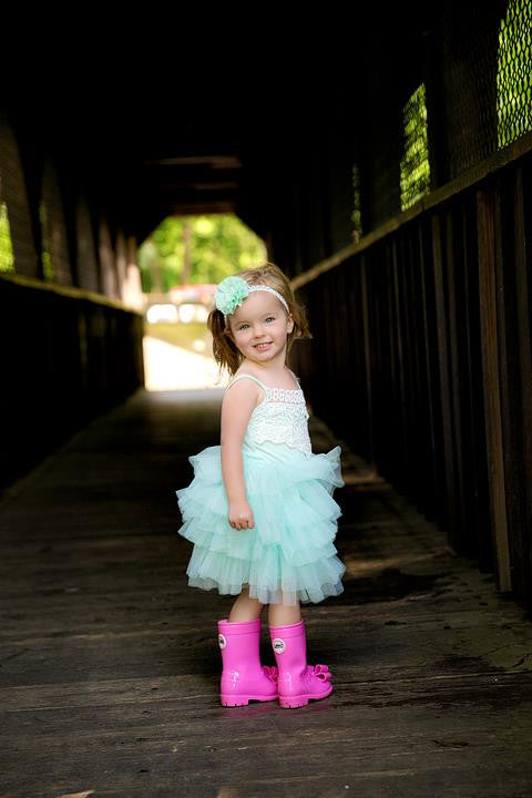aqua mint green tulle girl and toddler princess dress