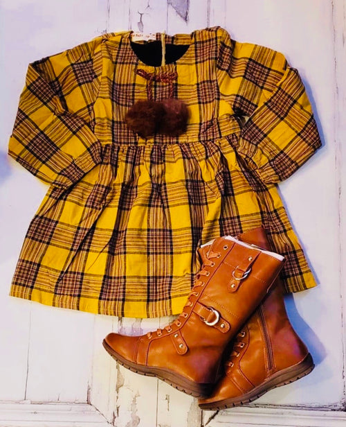 Yellow in Plaid Dress