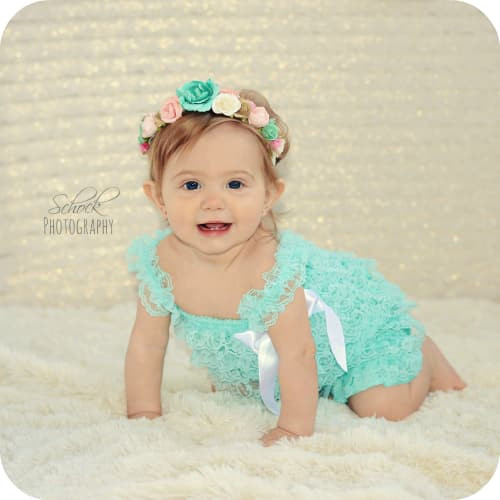 teal lace romper, first birthday outfit, baby romper