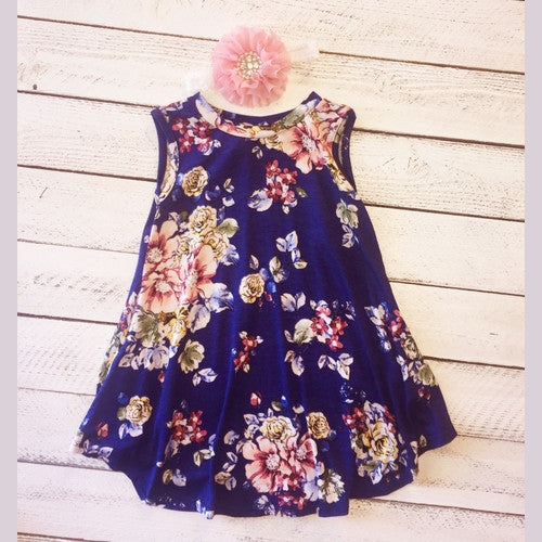 Navy Florals Delight w/headband