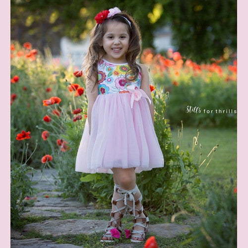 Girl Flower Dress with pink tulle, princess dress, Kids Boutique, Marili Jean Girls Clothing Boutique