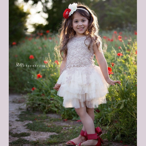 Red Poppy Lace Overlay Dress