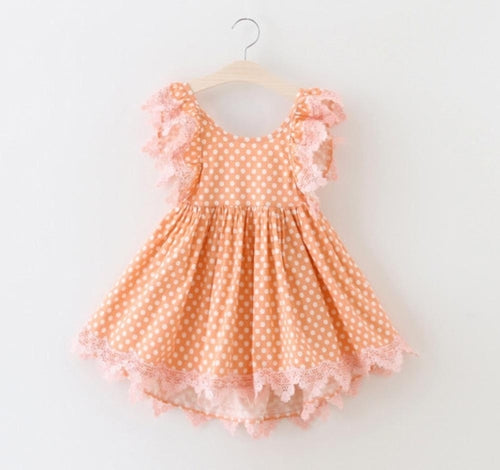 Girl dot dress, birthday girl dress, polka dot toddler dress, peach