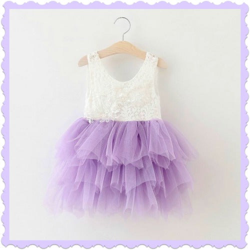 Lavender Lace Over Tulle Dress