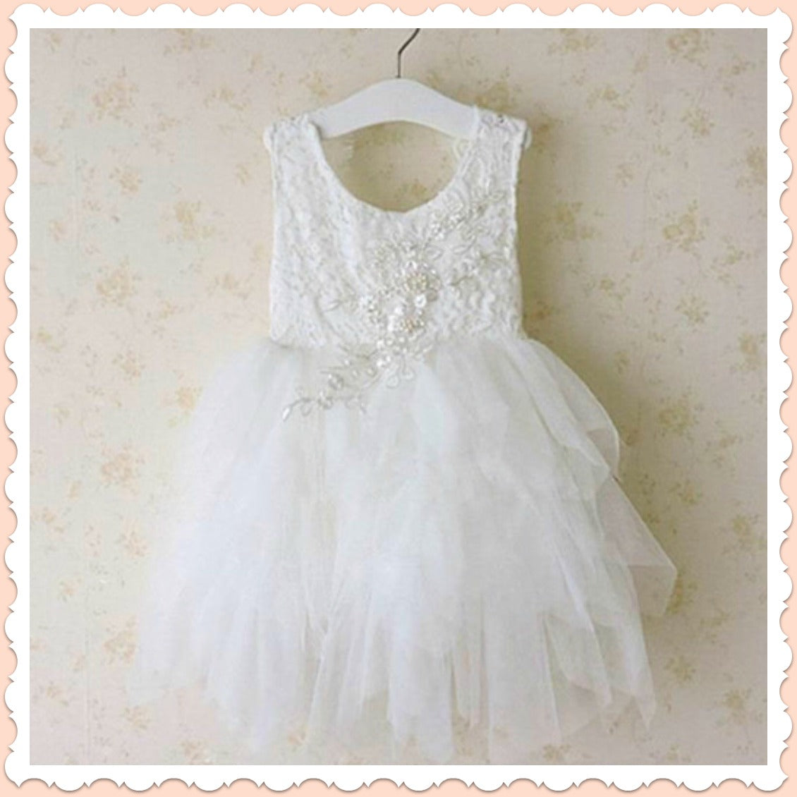 Fanciful Flower Girl Dress in white