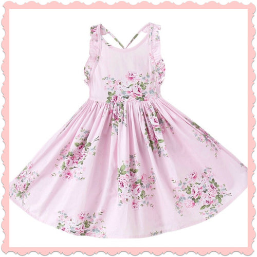 Pink! Tea Party Floral Girls Dress