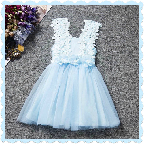 Blue Princess Flower Dress