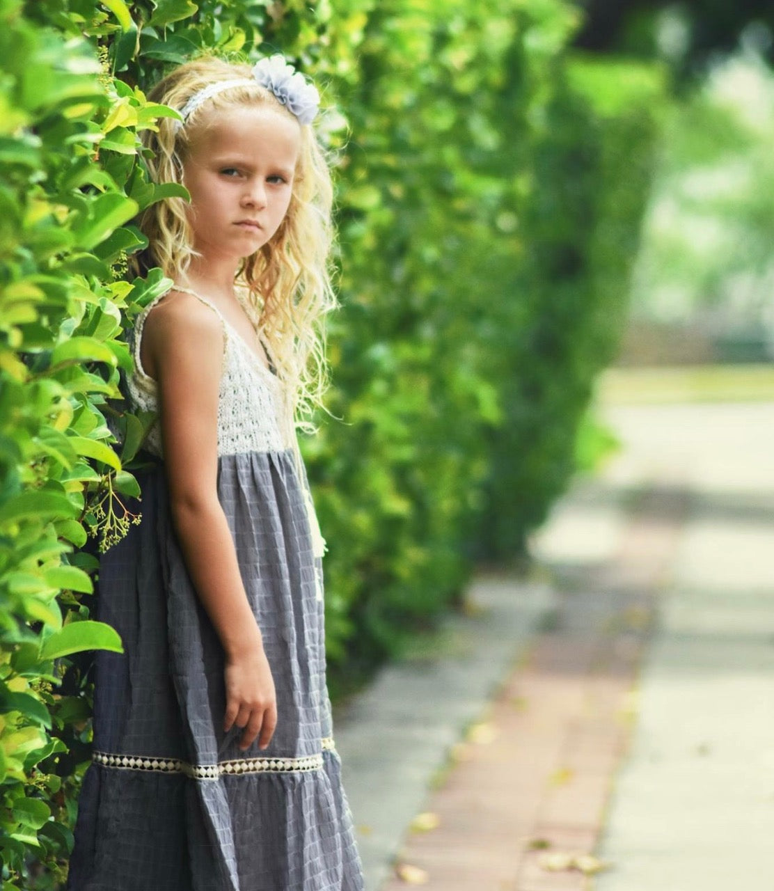 Grey lace crochet birthday dress for girls