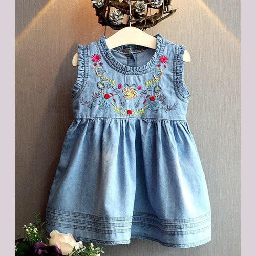 Denim Detailed Girl Denim Dress