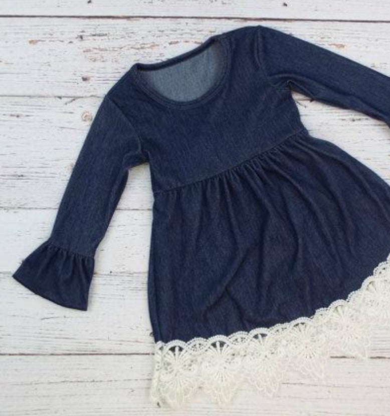 Toddler Girl Denim Dress with Lace Detail, Girl clothing boutique, farm birthday dress