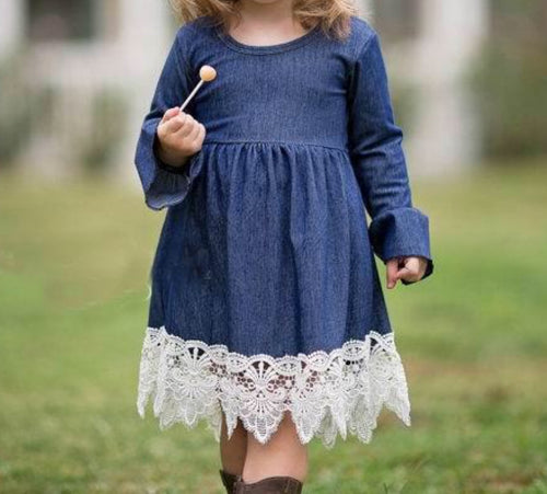 Denim Girl Dress with Lace Detail