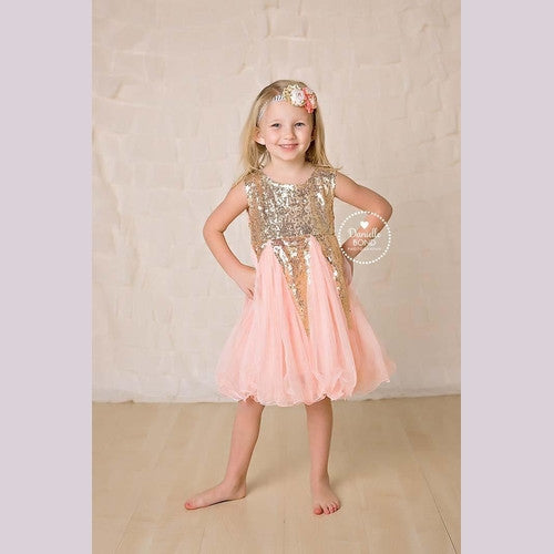 Pink Sequins Crown Dress