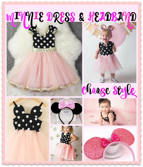Minnie Dot Mouse Dress - Choose Your Style Light Pink