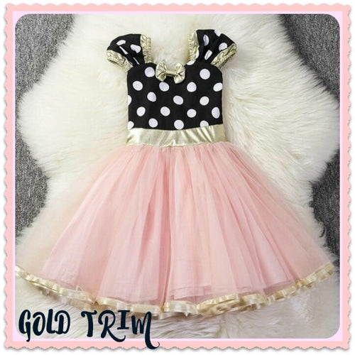 Minnie Birthday Dress Gold Trim