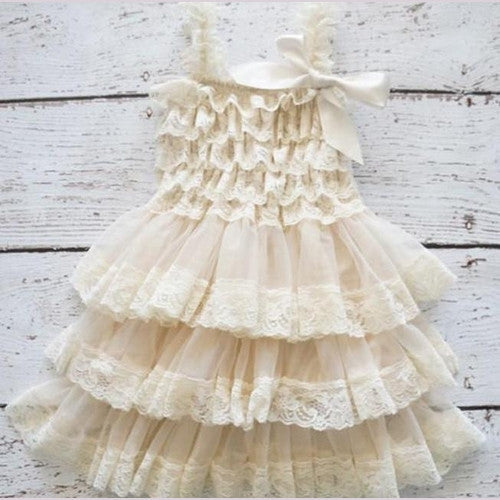 White Lace Ruffle Girl Dress Trendy Girl S Clothing