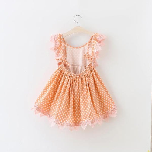 peach polka dot toddler dress