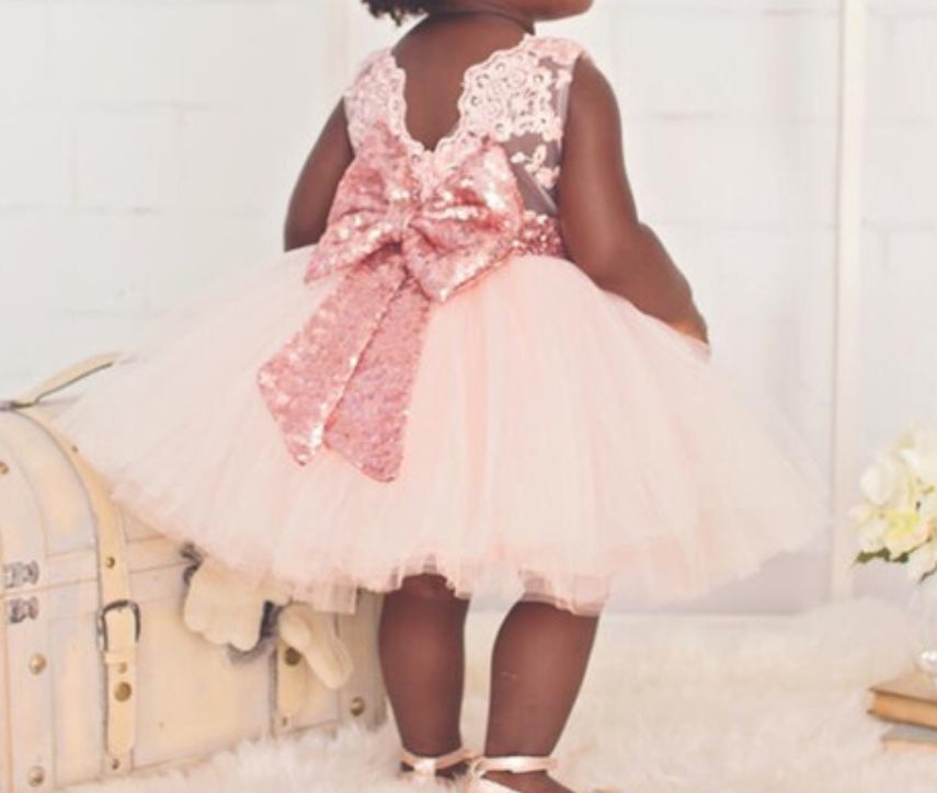 Pink Fancy Girl Birthday Dress with Bow for Princess