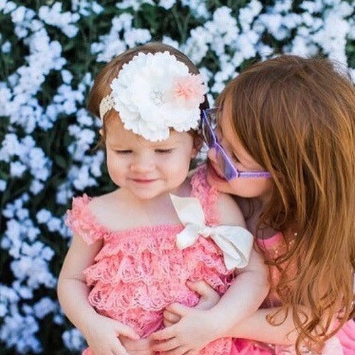 Matching big sister dress, large flower headband, coral sequins