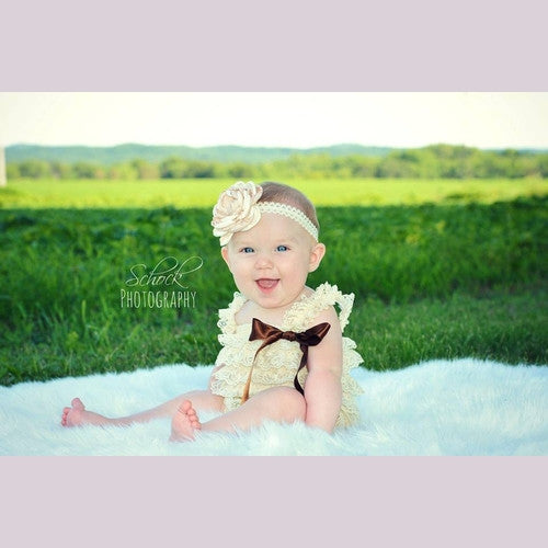 baby tan romper, first birthday romper, lace romper
