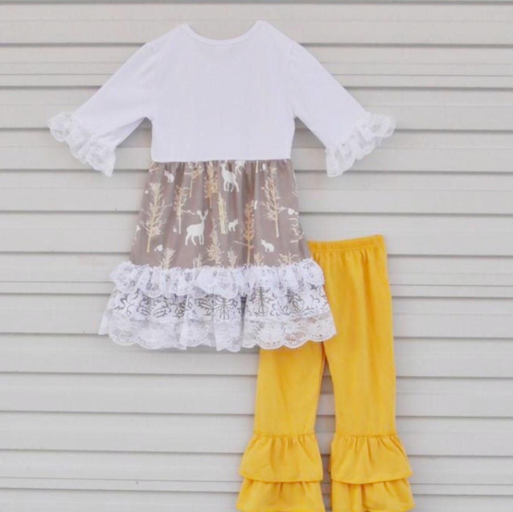 Ruffle Fall Persnickety Clothing for Girl and Toddlers Yellow