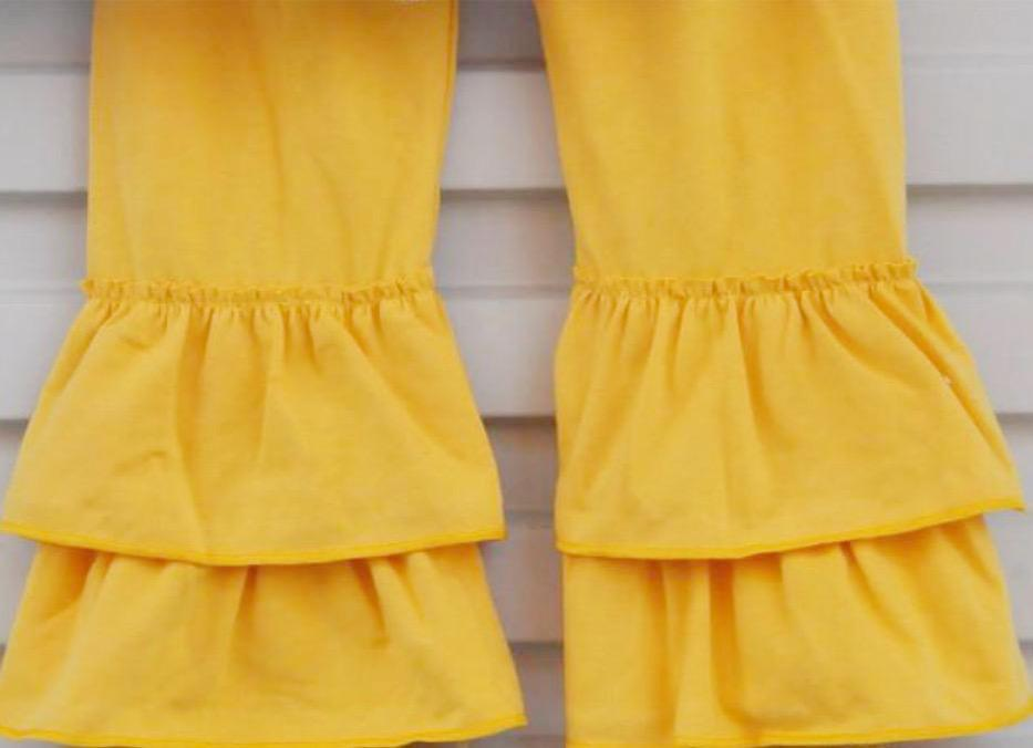Ruffle Fall Persnickety Clothing for Girl and Toddlers Yellow Pants