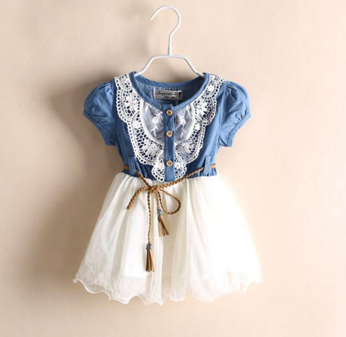 Denim Girl Dress with Lace