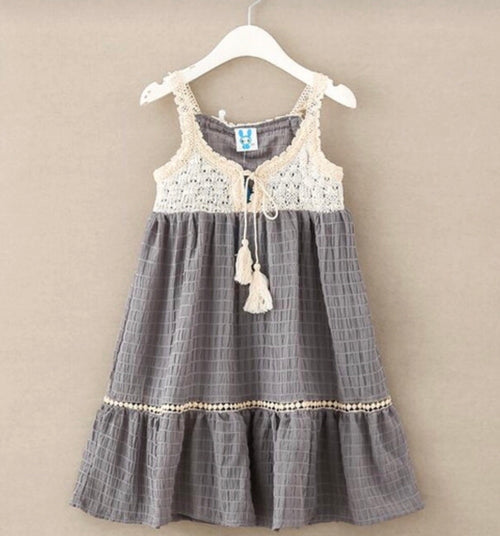 Grey in Crochet Dress