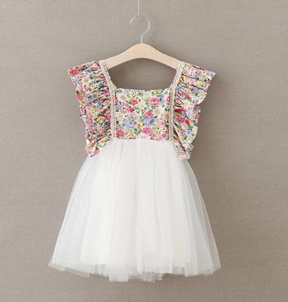 Ice cream floral dress for girl birthday party ideas with white tulle