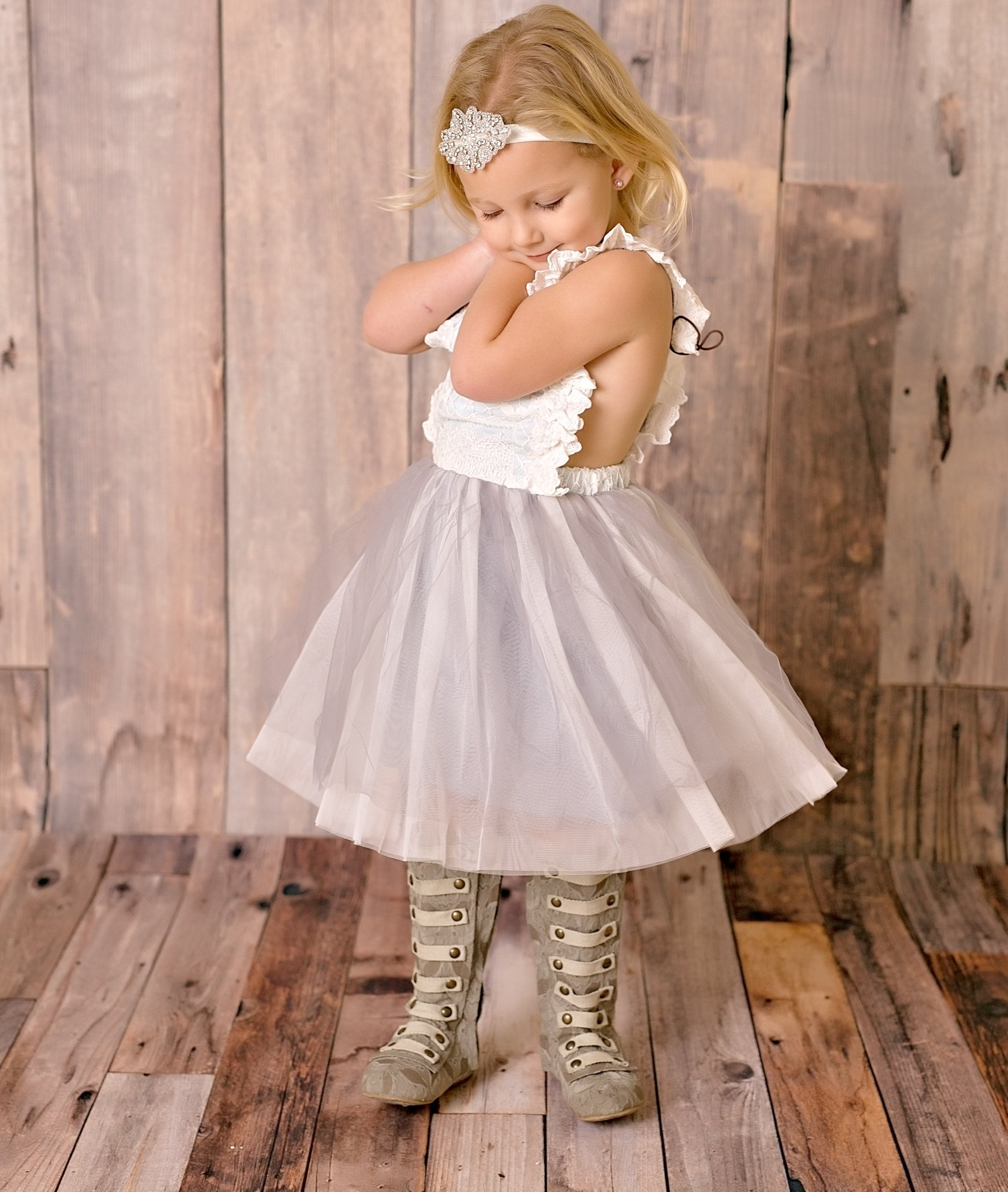 Garden Party Tea Party Dress in Grey Ruffle for girls and toddlers